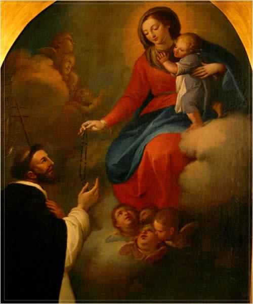 Virgen del Rosario entregando el Rosario a Santo Domingo de Guzmán, obra de Camerón, siglo XVIII (detalle)